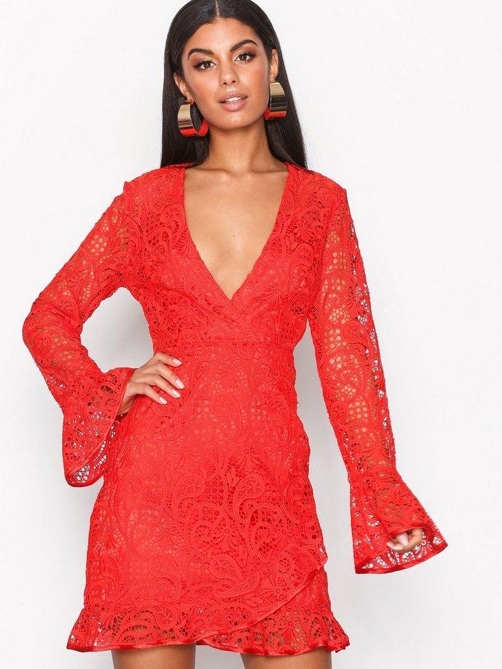 Lace Wrap Frill Tea Dress køb festkjole