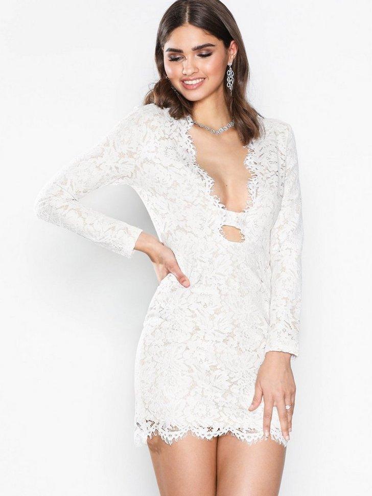 Lace Scallop Bodycon Dress køb festkjole