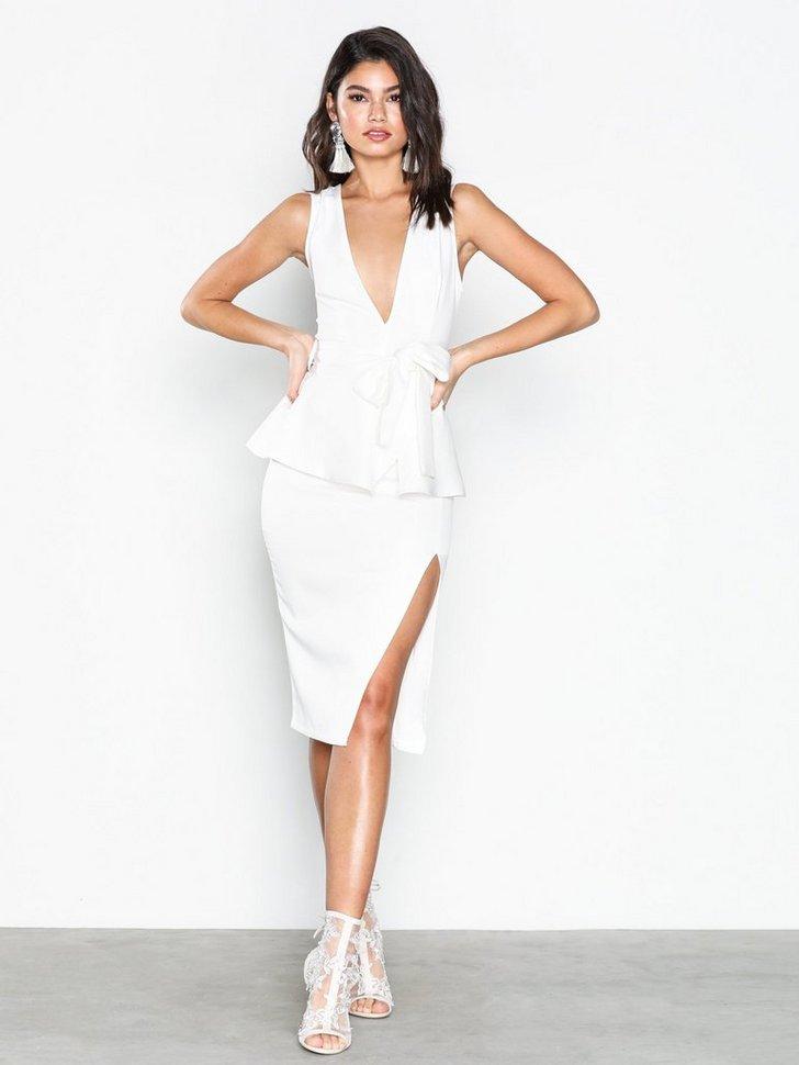 Crepe Peplum Midi Dress køb festkjole