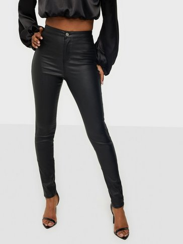 Missguided - High Waisted Coated Skinny Jeans