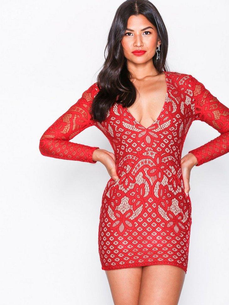Lace Plunge Neck Mini Dress køb festkjole