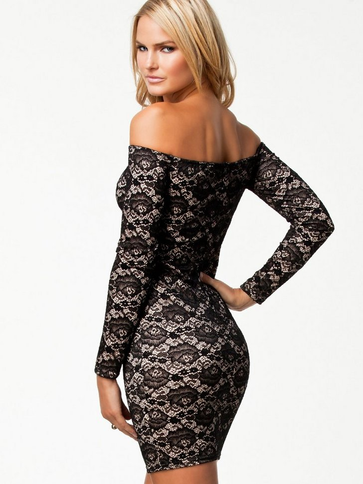 Off Shoulder Lace Dress køb festkjole
