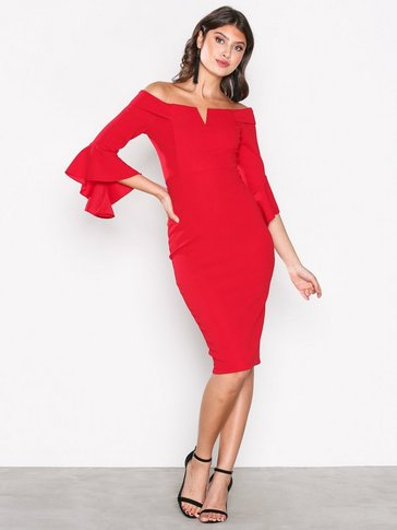 Ax Paris - Off Shoulder Flounce Sleeve Dress