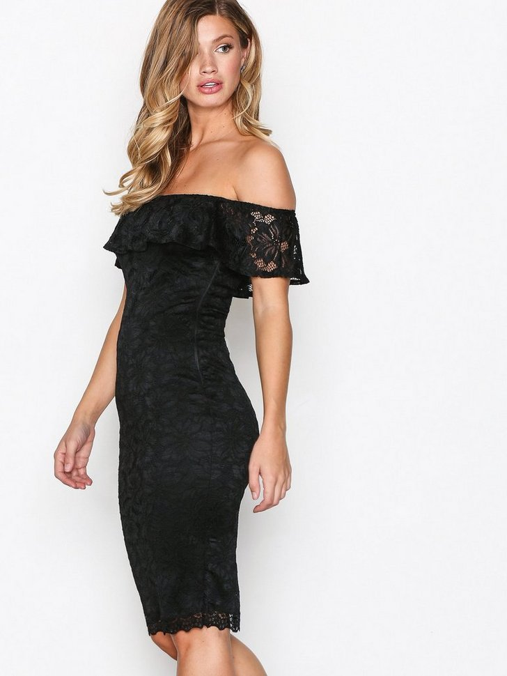 Off Shoulder Flounce Lace Dress køb festkjole