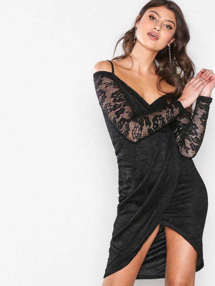 Laced Sleeve Wrap Dress køb festkjole