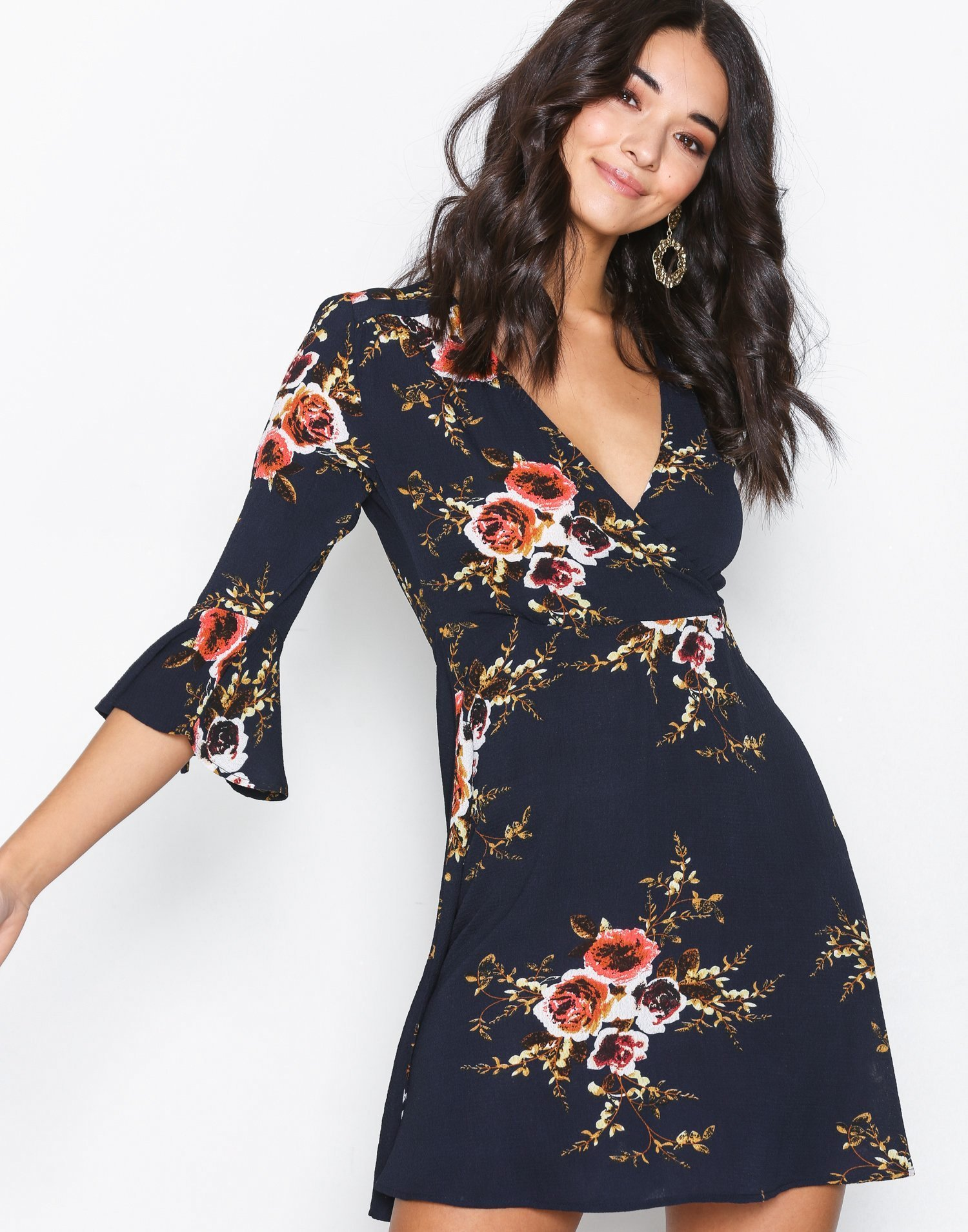 Floral V Neck Dress by Ax Paris