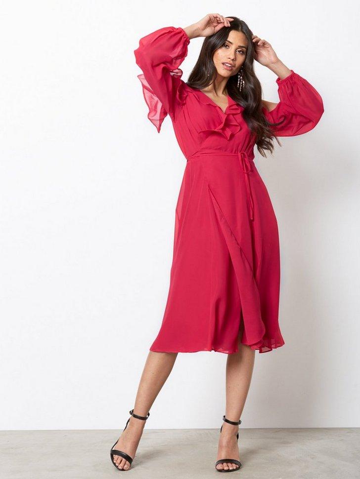 Cold Shoulder LS Frill Dress køb festkjole