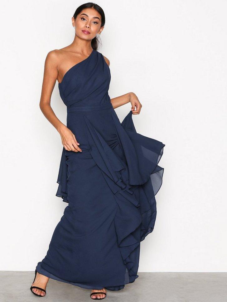 One Shoulder Ruffle Dress køb festkjole