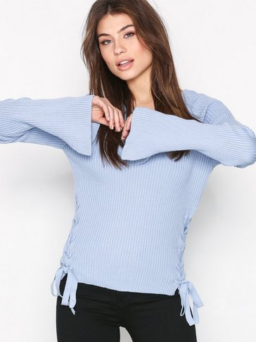 Glamorous - Knitted Lace Up Top