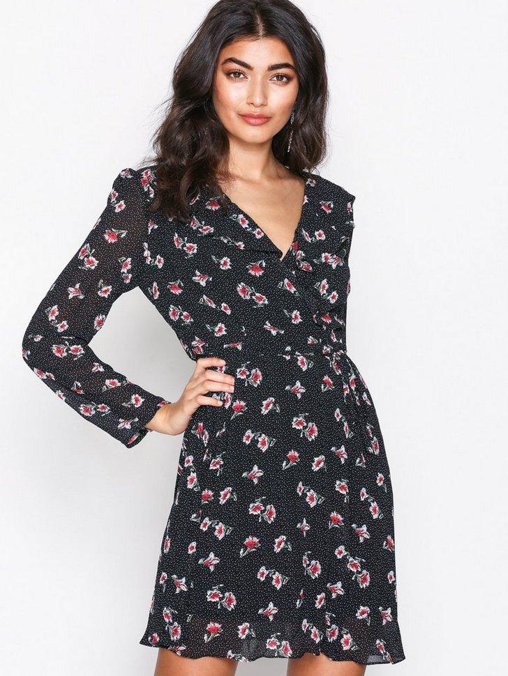 Floral Dot Wrap Dress