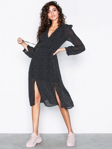 Glamorous - Polka Dot Split Leg Flounce Dress